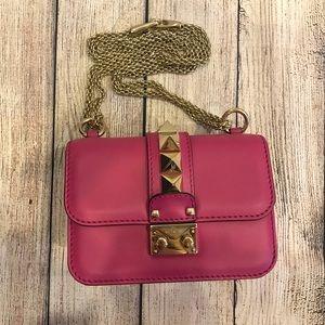 Valentino Fuchsia Mini Glam Lock shoulder bag